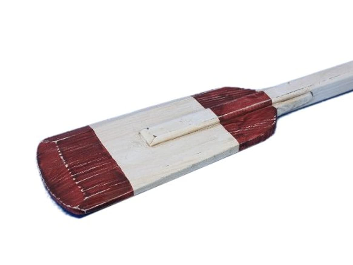 Hampton Nautical  Wooden Rustic Eastern Bay Squared Rowing Oar with Hooks, 36