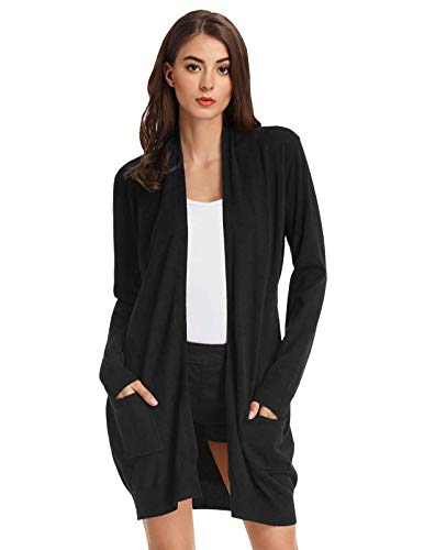 GRACE KARIN Womens Essential Solid Open Front Long Knited Cardigan Sweater Black M