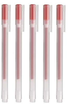 Muji, penna a sfera a inchiostro gel rosso, 0,38mm, 5 pezzi, 18727667