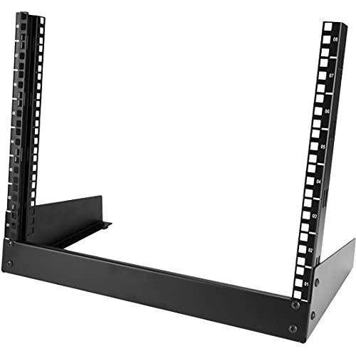 StarTech.com 8U Open Frame Network Rack - 19' 2 Post Free Standing Desktop Rack for Computer, AV, Media, IT, Data & Server Room Equipment (RK8OD)