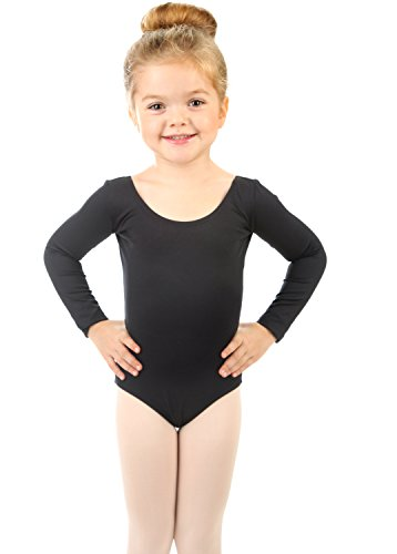 Elowel Girls' Team Basics Long Sleeve Leotard Black (size-6-8)