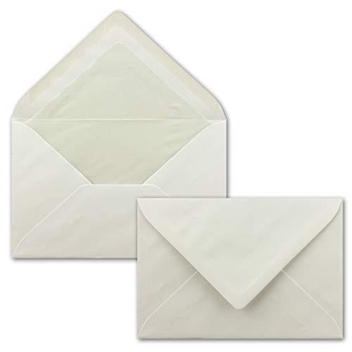 100x Briefumschläge, Creme mit Seidenfutter DIN C6-11,4 x 16,2 cm - mit Nassklebung, weiß 80 g/m², Klassische Spitze Klappe