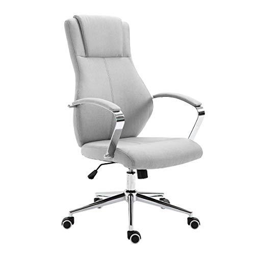 SVITA Mellow Bürostuhl Drehstuhl hochwertig verchromt Armlehnen Höhenverstellung Racing-Stuhl Chefsessel (Hellgrau, Stoff)