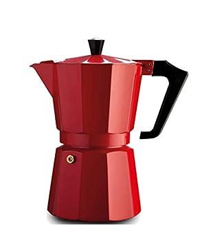 Pezzetti Stove-Top Espresso Coffee Maker Moka Pot - 3,6 Cup - Black/White/Red  6 Cup Black
