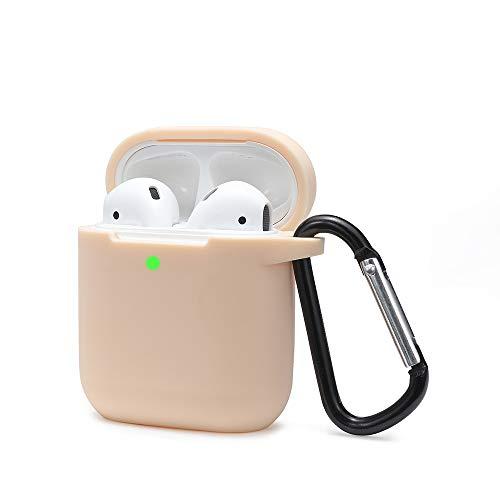 Airpods Schutzhülle Hülle Kompatibel mit AirPods 2 und 1, KOKOKA Silikon AirPods Schutzhülle hülle [LED an der Frontseite Sichtbar][Stoßfeste Schutzhülle] Beige