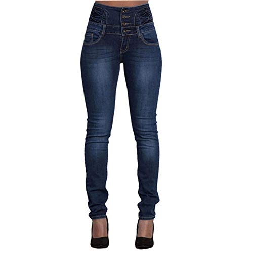 FCWJHNTSL Jeans Neri da Donna Push up Pantaloni in Denim a Matita Jeans Vintage a Vita Alta da Donna Casual Elasticizzato Skinny Mom Slim Femme Plus Size-Color3_S