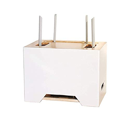 Estante flotante Cable Tidy Box Caja de almacenamiento enrutador de madera sólida...