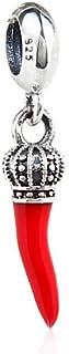 Charm a forma di cornetto con corona, pendente in argento sterling 925, adatto per braccialetti