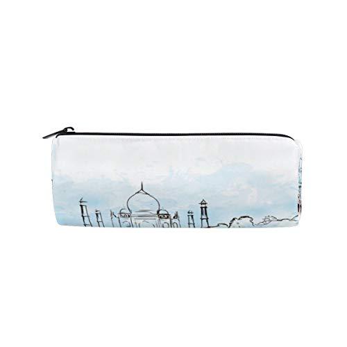 India Taj Mahal Bolsa de lápices Estuche de bolígrafos Estudiantes Papelería Bolsa de Cremallera para niñas Niños