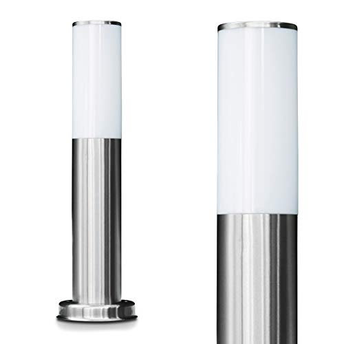 Lampione con base in acciaio inox: Lampione sottile in acciaio inox per il giardino | lampione da esterno con presa di corrente e luce indiretta | E27