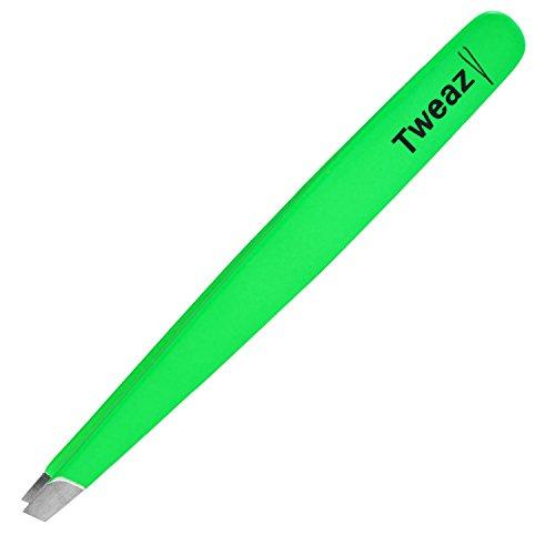 K-Pro TWEAZY Pince à Épiler Professionnelle - Pincettes en Acier Inoxydable pour l'épilation des Sourcils (Neon Vert)