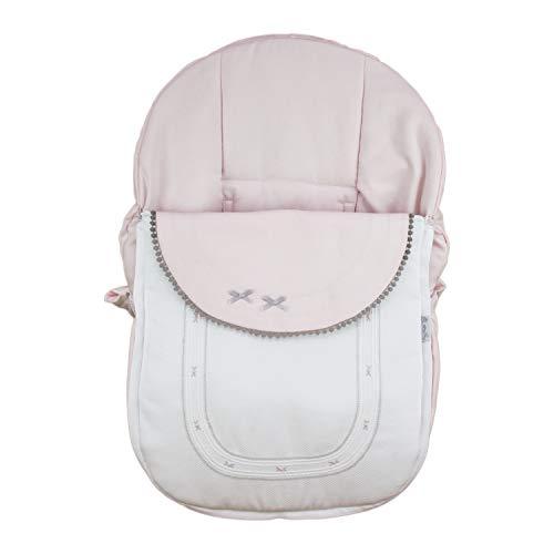 Funda + Saco Universal para Silla de coche GRUPO 0 Rosy Fuentes - Saco para Silla de Bebé Grupo 0 - Equipado para ser Ajustado perfectamente - Elaborado en Piqué Reversible- Color blanco rosa