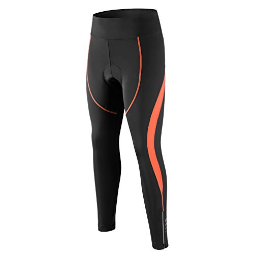 Damen Radhose 3D Gepolstert Kompression Tight Lange Fahrrad Hose mit breitem Bund, Damen, Orange, Small