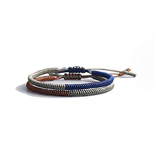 EXINOX Pulsera Tibetana | Hombre Mujer | Color Azul Marron y Gris | 2 Piezas