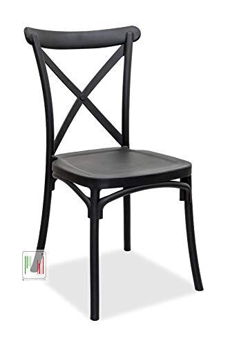 Stil Sedie - Sedie in Polipropilene impilabile Cucina Bar Ristorante per Interno ed Esterno Confezione da 4 Pezzi Modello Ambra (Nero)