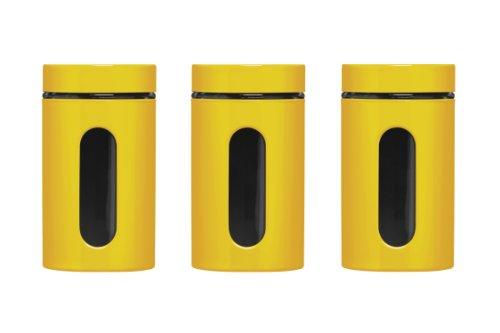 Premier Housewares Set di 3 Barattoli, Smalto Giallo su Acciaio/Vetro, 1000 ml