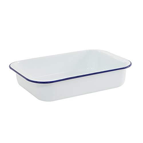 ProCook traditionelle Auflaufform - Emailliert - Ofenform - Auflaufform - groß - Backform - weiß & blau