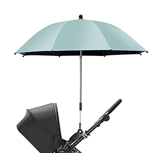 OHHCO Sostal Parasol Paraguas Universal Anti-URO Impermeable Parasol PRAM con Abrazadera de fijación Ajustable y Mango para Cochecito Cochecito Cochecito Cochecito,Verde