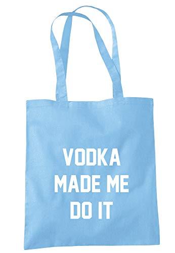 illustratedidentity Wodka Made Me Do It Tragetasche, 37,5 x 42 cm, mit langen Griffen, Blau - himmelblau - Größe: Einheitsgröße