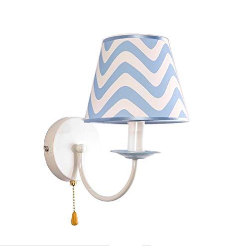 Pull Chain Kinderwandleuchte E14 Retro Schlafzimmer Nachttischlampe aus Metall und Stoffschirm