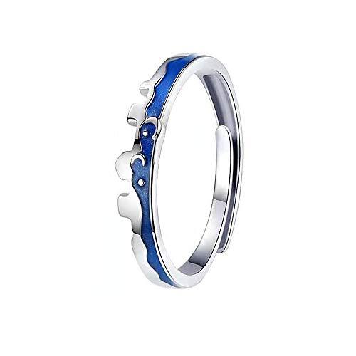 MIKAMU 愛の証 ペアリング 星月夜の町 シルバー925 純銀製 ジュエリーレディースリング メンズリング フリーサイズ 婚約指輪 結婚指輪 友達 恋人 プレゼント (レディース)
