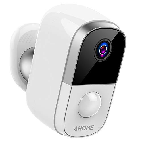 AHOME C1 Akku Überwachungskamera, HD 1080P Kabellose Aussen WLAN Kamera, Baby Monitor mit PIR Bewegungsmelder, 2-Wege-Audio, IP65 Wasserdicht, Infrarot Nachtsicht, 2.4G WiFi, SD Kartenslot - Weiß