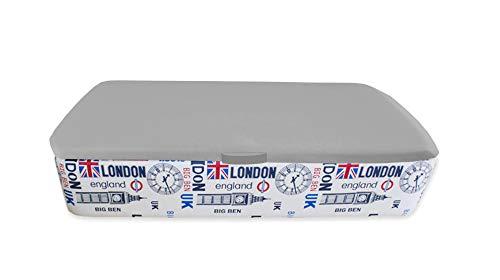Naturconfort Canapé Abatible Tapizado Apertura Lateral Tapa 3D Gris Low Cost Londres 105x190cm Envio y Montaje Gratis