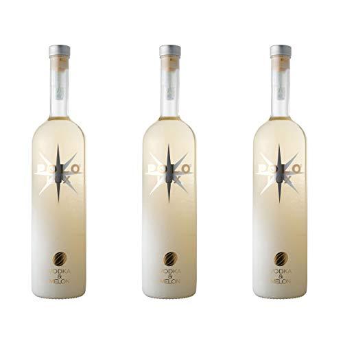 Polo Lux Vodka Melon 3er Set, Melonen Wodka, Spirituose, Alkohol, Flasche, 28%, 3 x 1 L