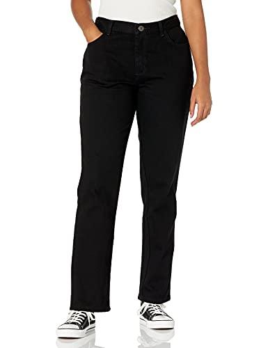 Lee Women's Missy Relaxed Fit Straight Leg Jean, Black Cotton, 8 Short