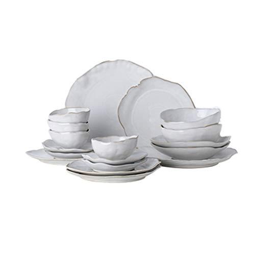 ZLDGYG Juego de vajillas de Persona Cerámica del hogar nórdico Cena de Forma Irregular Conjunto de Platos Platos (Size : Set meal18)