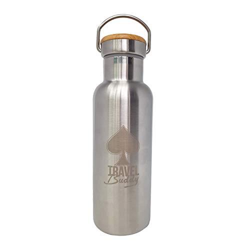 Botella de agua aislada al vacío de acero inoxidable,  diseño de pared doble,  boca estándar -  500ml -  sin bpa Botellas -  para oficina,  trabajo,  escuela,  correr,  gimnasio,  camping,  senderismo,  mochilero
