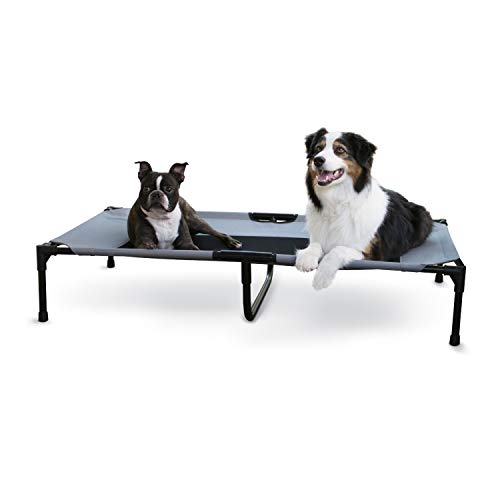 K&H Pet Products Original Pet Cot Elevated Dog Bed Gray/Black Mesh X-Large 32 X 50 X 9 Inches
