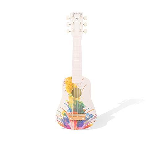 CGRTEUNIE Acústica clásica de 6 cuerdas 21 pulgadas Guitarra de madera hecha a mano Ritmo de ukelele Instrumento musical de desarrollo Juguete educativo para principiantes (Pintura abstracta)