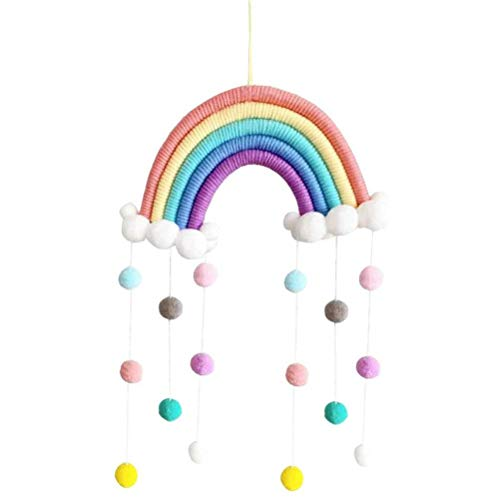 VIVILIAN Campanas de viento para cama de bebé móvil para colgar nubes gotas de lluvia arco iris borlas campanillas de viento para bebé recién nacido