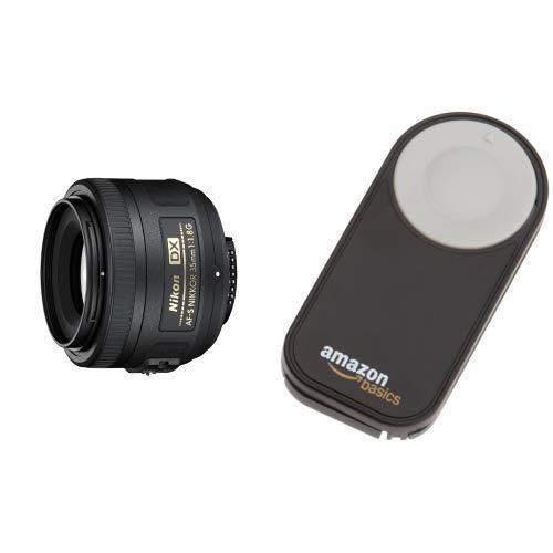 Nikon Obiettivo Nikkor AF-S DX 35 mm f/1.8G, Nero [Nital Card: 4 Anni di Garanzia] + Amazon Basics - Telecomando wireless per fotocamere digitali SRL Nikon P7000, D3000, D40, D40x, D50,