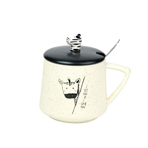 L-WSWS Taza de cerámica, Tapa con Cuchara de café Leche del Desayuno Copa, Creativo Oficina Linda Taza for Beber, Taza de 300 ml,