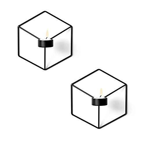 Win-Y Wandteelichthalter Metall Kerzenständer Wandkerzenhalter Kerzen- und Teelichthalter Hängend 2er Set (Schwarz)