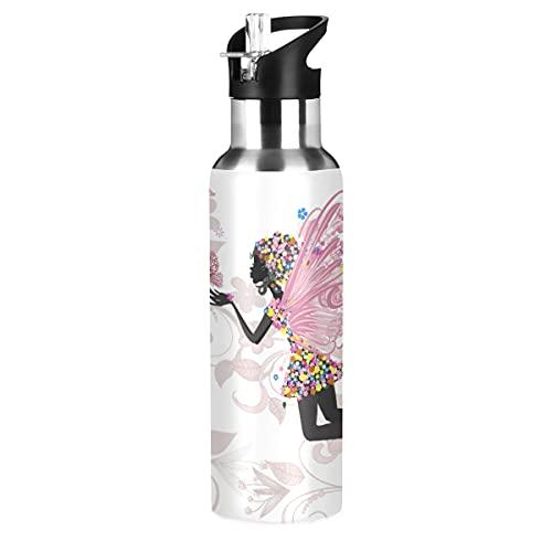 xigua Flowe Fairy - Botella de agua con aislamiento al vacío de acero inoxidable con tapa de pajita para deporte, gimnasio, camping, viajes, 20 onzas