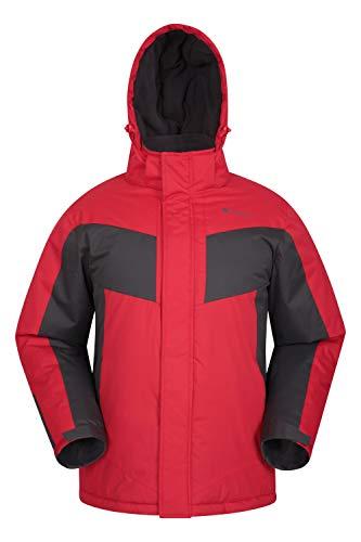 Mountain Warehouse Dusk Skijacke für Herren - Wasserbeständige Snowboardjacke, Fleecefutter, Schneerock, Kapuze und Bündchen zum Verstellen - Ideale Winterjacke Dunkelrot XXS
