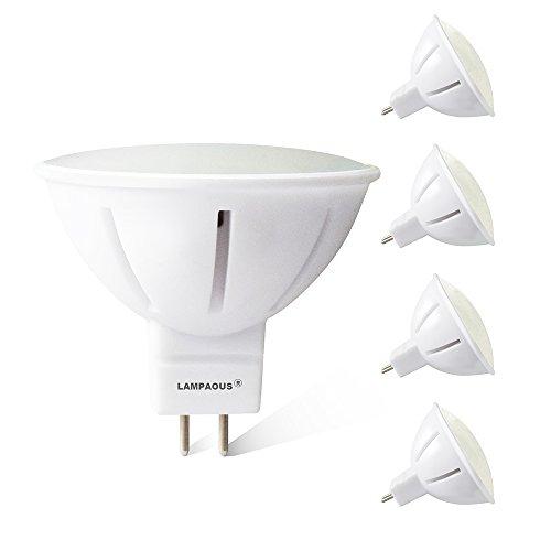 Lampaous led mr16 gu 5.3 Lampen 5 Watt Leuchtmitteln mr16 led Strahler Birnen 450lm 50 Watt Halogenlampen Ersatz Keramik Koerper 12V AC/DC (Neutralweiss, 4er Pack)