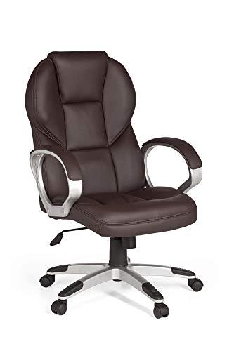 Amstyle Matera Chaise de bureau Cuir marron