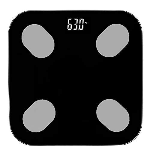 Haofy Báscula de Grasa Corporal Inteligente para el hogar de 180 kg, báscula de Peso LCD Digital electrónica, Monitor de Salud de análisis físico Negro para el hogar