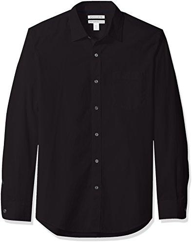 Amazon Essentials Slim-Fit Long-Sleeve Poplin Shirt Button-Down, Noir, US M (EU M)