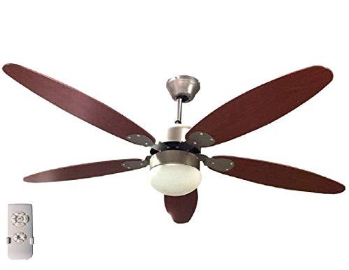 Ventilatore a soffitto Ø 130cm 5 pale con telecomando LUCE Reversibile 70W Legno Funzione invernale Timer 3 Velocità