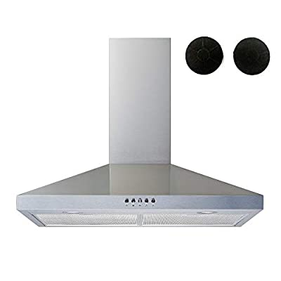 """Winflo 30"""" Convertible Stainless Steel Wall Mount Range Hood with Stainless Steel Baffle filters or Mesh Filters, LED lights and 3 Speed Push Button Control (With 2pcs charcoal filters)"""