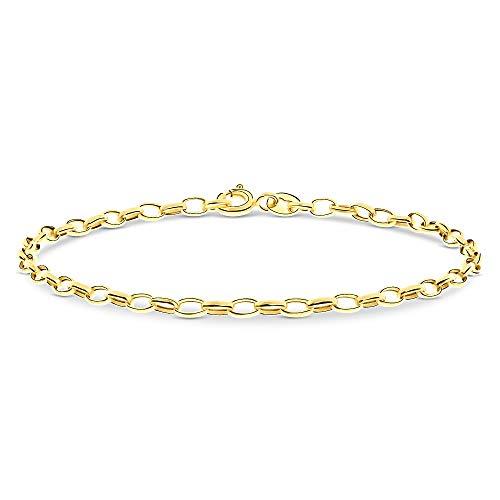 Miore armband uit 14 karaat 585 geelgoud met hart bedels, lengte 19 cm