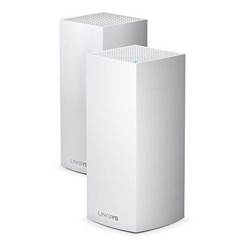 Sistema Linksys MX8000 Velop Mesh WiFi 6: AX4000, red inalámbrica de triple banda para cobertura doméstica de velocidad completa, puertos Gigabit Ethernet (blanco, 2 unidades)