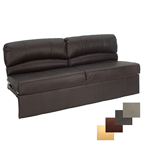 RecPro Charles RV Jackknife Sofa | Love Seat | Sleeper Sofa | Length Options 62', 68', 72' (72 Inch, Chestnut)