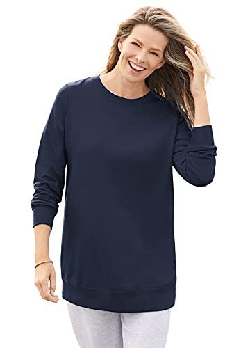 Woman Within Damen-Sweatshirt aus Fleece, Übergröße, navy