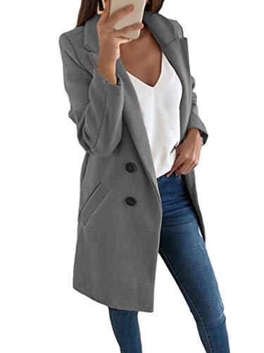 Onsoyours Damen Blazer Damenjacke Jacke Military Army Style Lang S -XXL XXXL Grau 34